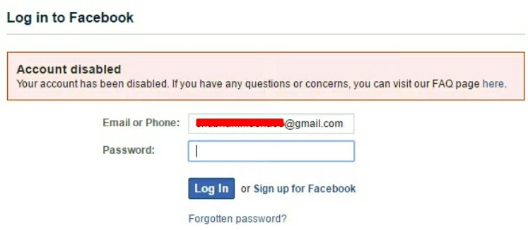 Account disabled log in to facebook